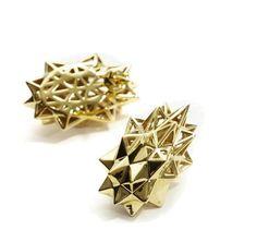 """""""Stellated Stud Earrings"""" Verahedra series stud earrings in 18K yellow gold.     http://johnbrevard.com/stellated-stud-earring"""