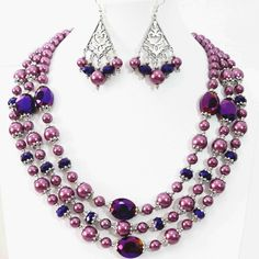 "Newly Purple necklace 3rows earrings round shell simulated-pearl oval crystal beads special making jewelry set 18-22"" B998"