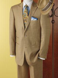 Wool & Silk Sharkskin Two-Button Peak-Lapel Suit from Paul Fredrick