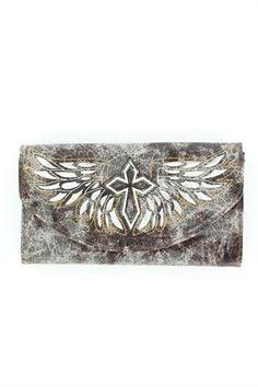 Blazin Roxx Black Cross and Wing Wallet