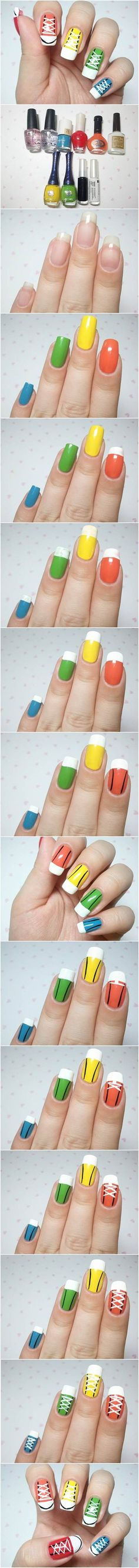 How to DIY Cute Converse Sneakers Nail Art #fashion #beauty #nail