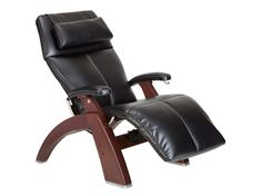 Shop for Human Touch Silhouette Perfect Chair Series 2 Dark Walnut Electric Power Recline Wood Base Zero-Gravity Recliner - Black Vinyl - Standard Ground Shipping Included online - Toocutefashion Reclining Office Chair, Desk Chair, Chair Pictures, Shops, Relax, Unique House Design, Leather Recliner, Cool Chairs, Chair Design