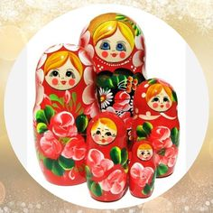 Russian Nesting Doll Milena Red 5 Piece #nestingdolls #Russiantoy #lacquerbox #dollindoll #nestingdoll #Russiandoll #babushka #stackingdoll #Woodendolls #nesteddoll #babooshkadoll #Russiangifts #Russianbox #matryoshka Unique Gifts For Kids, Wooden Dolls, Shapes, Pattern, Red, Handmade, Color, Hand Made, Patterns
