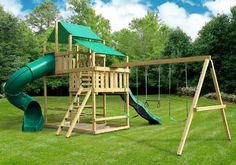 47 Free DIY swing set plans for a happy playground in your backyard - Home and Garden - DIY and Crafts - Home Decor - Travel Destinations - Christmas Build A Swing Set, Diy Swing, Swing And Slide, Wooden Swing Set Plans, Large Backyard Landscaping, Backyard Swings, Backyard For Kids, Backyard Ideas, Small Swing Sets