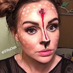 Bullet to the head. Halloween costume, deer costume, deer makeup, fantasies   #sfxbychels - follow on Instagram