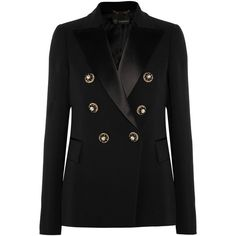 Versace Embellished satin-trimmed silk-crepe blazer (177.795 RUB) ❤ liked on Polyvore featuring outerwear, jackets, blazers, versace, embellished jacket, tailored blazer, versace jacket and double breasted blazer