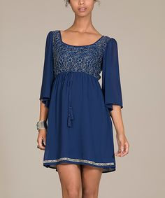 This Flying Tomato Navy & Silver Woven Floral Square-Neck Dress by Flying Tomato is perfect! #zulilyfinds