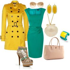 Teal & Yellow, created by firefly7522 on Polyvore