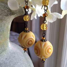 Sunlit yellow drop dangle earrings by kimberlyddesigns on Etsy