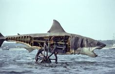 Bruce the mechanical shark from JAWS on the set. Created by Robert A. Mattey.