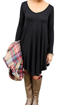 Shirt Dresses for Women Casual Party Cocktail With Sleeves From Koobea Black Medium -- You can get more details by clicking on the image.
