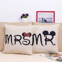 Home | 1PC MR MRS Couples Gift Linen Throw Pillow Case Fashion Cute Lover Sofa Cushion Pillow Covers Home Furniture Decor