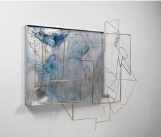 SARA BARKER C. V. on land and in sea, 2015 Brass & stainless steel rod, sand-blasted perspex, folded aluminium sheet, automotive paint 42 1/2 × 50 2/5 × 24 in 108 × 128 × 61 cm (The Approach)