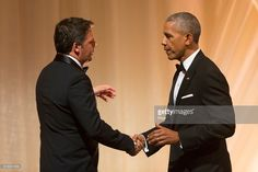 US President Barack Obama (R) greets Italian Prime Minister Matteo Renzi (L) after offering a toast during a state dinner on the South Lawn of the White House in Washington DC, USA, 18 October 2016. President Obama hosts his final state dinner, featuring celebrity chef Mario Batali and singer Gwen Stefani performing after dinner. WASHINGTON, DC - OCTOBER 18: U.S. President Barack Obama greets Italian Prime Minister Matteo Renzi after offering a toast at a state dinner on the South Lawn of…
