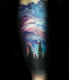 50 Northern Lights Tattoo Designs For Men - Aurora Borealis Ideas - Rickie Richardson - 50 Northern Lights Tattoo Designs For Men - Aurora Borealis Ideas 50 Northern Lights Tattoo Designs For Men - Aurora Borealis Ideas - Galaxy Tattoo Sleeve, Nature Tattoo Sleeve, Sleeve Tattoos, Natur Tattoo Arm, Natur Tattoos, Sky Tattoos, Forest Tattoos, Tatoos, Galaxia Tattoo