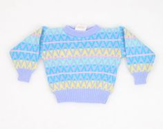 Vintage Toddler Girl Sweater New Wave Cosby Sweater Pullover Jumper Pastel Easter Chevron Stripe Blue Green Yellow Purple 2t 2 Toddler Girls #vintage #etsy #toddler #girl #sweater #jumper #pullover #1980s #80s #cosbysweater #pastel