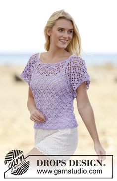 Shy Violet crocheted top with fan pattern, worked top down. Free pattern by DROPS Design.