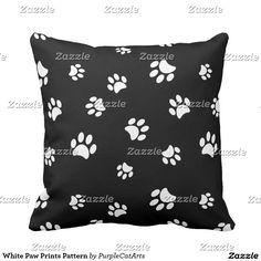White Paw Prints Pattern Pillow