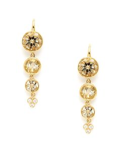 Crownwork Triple Lt. Citrine & Diamond Drop Earrings by Ray Griffiths at Gilt