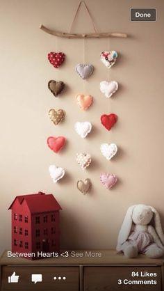 Spread the love – Adorable DIY Baby Mobile Ideas – Photos - Home Decor Valentines Day Decorations, Valentine Day Crafts, Christmas Crafts, Valentine Banner, Christmas Tree, Baby Decor, Nursery Decor, Kids Decor, Nursery Design