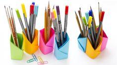 Подставка для карандашей своими руками. Простые оригами