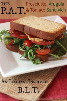 For a change from the original, try an Italian-inspired variation on the classic BLT sandwich made with crispy prosciutto and peppery arugula. Soup And Sandwich, Sandwich Recipes, Lunch Recipes, Healthy Recipes, Free Recipes, Prosciutto, Quesadillas, Tacos, Wrap Sandwiches