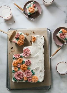 Carrot Sheet Cake with Buttercream Flowers and Brown Butter Cream Cheese Frosting – A Cozy Kitchen