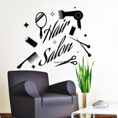 Vinyl muur stickers schaar kam haardroger cosmetica Decal Star Stickers Beauty Hair Spa Salon decoraties Home Art Design muurschildering (MA105) door DecalHouse op Etsy https://www.etsy.com/nl/listing/281080978/vinyl-muur-stickers-schaar-kam