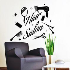 Vinyl muur stickers schaar kam haardroger cosmetica Decal Star Stickers Beauty Hair Spa Salon decoraties Home Art Design muurschildering (MA105) door DecalHouse op Etsy https://www.etsy.com/nl/listing/281080978/vinyl-muur-stickers-schaar-kam