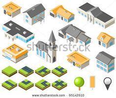 Suburban community isometric city kit - stock vector