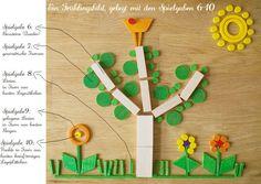 Frühling mit Spielgaben! Bild aus den Spielgaben 6-10 mit Erklärung und Beschriftung, welche geometrischen Formen zu welcher Spielgabe gehören.