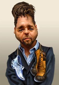 Celebrity caricatures.           Russel Crowe.        For more great pins go to @KaseyBelleFox