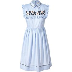 Cotton Embroidery Fitted Dress ❤ liked on Polyvore featuring dresses, blue collared dress, blue embroidered dress, embroidered dress, cotton dresses and ruched dress