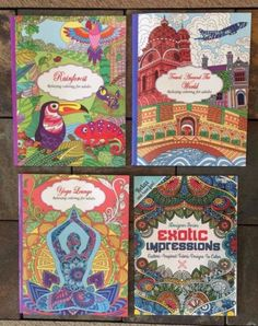 "Lot Of 4 Brand New High Quality Adult Coloring Books.    1 book is ""travel around the world"" themed (Beautiful Europe, Venice, Scenic America, etc),   1 book is ""yoga lounge"" themed (stretching and thoughtful poses, with beautiful butterflies, florals and paisley accents, etc),  1 book is ""rainforest"" themed (intricate patterns with exotic animals, florals, butterflies/insects, etc),   1 book is ""exotic impressions"" themed (intricate floral, geometric and paisley patterns, etc.)."