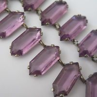 Vintage Art Deco Signed Czech Glass Amethyst Geometric Necklace