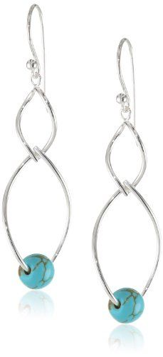 """Sterling Silver Petal Twist Turquoise Drop Earrings, 2"""" Amazon Curated Collection http://www.amazon.com/dp/B00CZ6UPB6/ref=cm_sw_r_pi_dp_Lw0zub0GZS6D6"""