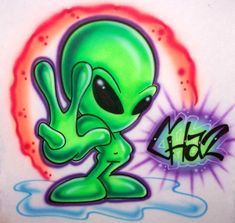 Cool alien drawings skulls flames aliens more; custom themed airbrush tees learn how to airbrush tips tricks and techniques Graffiti Art, Graffiti Cartoons, Graffiti Characters, Graffiti Drawing, Graffiti Lettering, Badass Drawings, Alien Drawings, Cartoon Drawings, Art Drawings