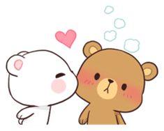 Bear Couple : Milk & Mocha by Shortie sticker Images Kawaii, Cute Cartoon Images, Cute Couple Cartoon, Cute Cartoon Wallpapers, Cute Bear Drawings, Cute Couple Drawings, Kawaii Drawings, Gif Lindos, Memes Lindos