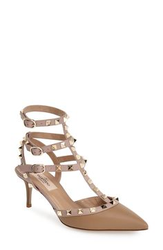 These tan Valentino 'Rockstud' t-strap pumps are on the wish list.