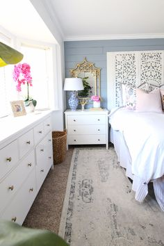 This is a sponsored conversation written by me on behalf of Stearns & Foster. The opinions and text are all mine for my Master Bedroom Makeover Hello friends! I'm so excited to be sharing my master bedroom makeover reveal with you today! It's a colorful mix of traditional, modern and a splash of farmhouse and I absolutely l love it! Last week I shared my plan for refreshing the space! Let's chat mattresses for a sec. Guys, no matter how much work, time, energy, etc you put into your spa...
