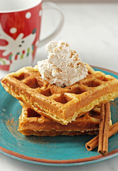 Eggnog Waffles with Cinnamon Whipped Cream - Cook Nourish Bliss