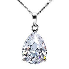 JewelrieShop Super Bling Bling Classic Design Cubic Zirconia CZ Pear Shape Tear Drop Pendant Necklace  JewelrieShop Super Bling Bling Classic Design Cubic Zirconia CZ Pear Shape Tear Drop Pendant Necklace     Cubic Zirconia  is a synthetic gemstone. Usually, about the appearance, Cubic Zirconia is so optically close to diamond that even jewellers cannot tell the difference between a Cubic Zirconia and a diamond with the naked eye – jewellers use a loupe to tell the difference. But th..