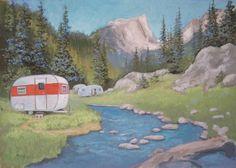Fishing Camp, painted by Paige Bridges.she has lots of vintage camper/caravan artwork. Glam Camping, Camping Car, Camping Life, Outdoor Camping, Camping Theme, Vintage Campers Trailers, Retro Campers, Camper Caravan, Camper Trailers