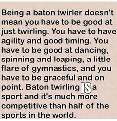 Baton twirling is what, exactly...?
