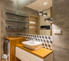 Mała łazienka w bloku bez okna, styl nowoczesny - zdjęcie od Kameleon - Kreatywne Studio Projektowania Wnętrz - homebook