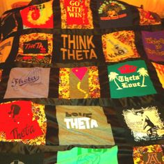 such a good idea #diy My kappa alpha theta quilt! Made out of my old sorority t-shirts. Keepsake :)