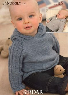 Currently knitting as of June 2012 Sirdar Baby Jacket & Sweater Pattern Number 1672 Baby Boy Knitting Patterns, Knitting For Kids, Baby Patterns, Brei Baby, Pull Bebe, Knitted Baby Clothes, Baby Knits, Hoodie Pattern, Baby Sweaters