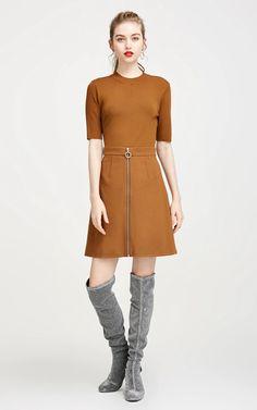 Vero Moda Round Neckline Elbow Sleeves A-line Knitted Dress - HD VOGUE Knit Dress, Vogue, Neckline, Woman, Knitting, Sleeves, Sweaters, Dresses, Fashion
