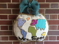 Items similar to Around the world door hanger, Globe, Map on Etsy Geography Classroom, Painting Burlap, Burlap Door Hangers, Birthday Month, Airstream, Globe, Clever, Coin Purse, 21st