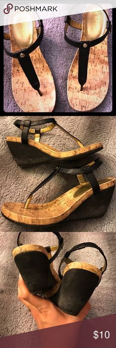 Chaos strapped wedge sandals Here is wear to the Heels as pictured that's why they are priced so low. Super comfortable and fashionable. Black straps with gold embellishments. Chaps Shoes Wedges